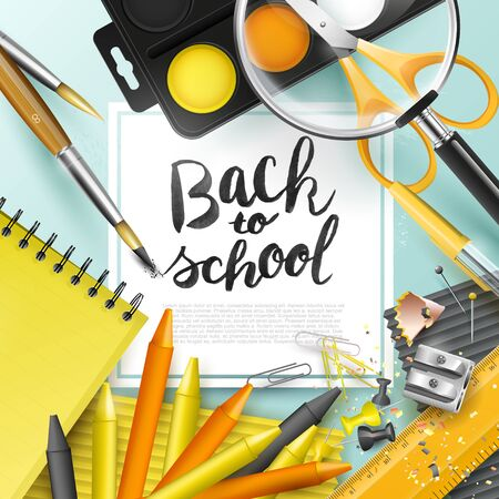 table top: Modern design template with school accessories and Back to school hand drawn lettering