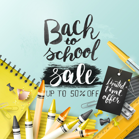 Trendy design template with Back to school sale brush lettering and school accessories