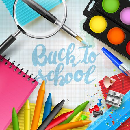 table top: Modern template with school accessories and Back to school hand drawn lettering Illustration