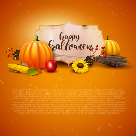 autumn background: Halloween greeting card with traditional decorations and place for text