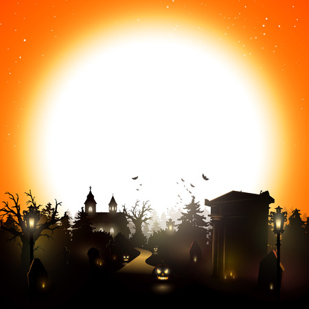 autumn background: Halloween background with cemetery and place for text