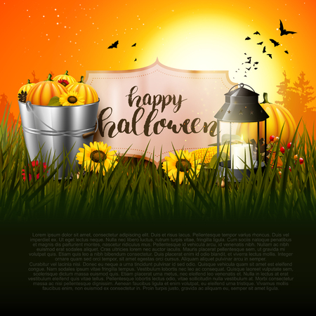 Halloween greeting card with traditional decorations in the woods at sunset and place for text