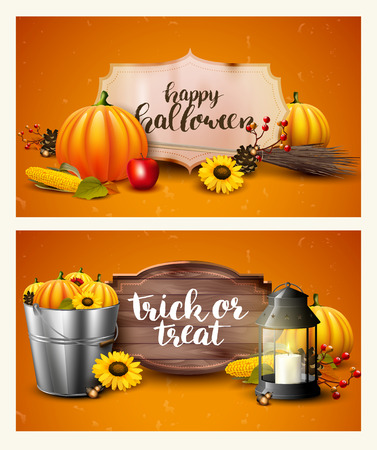 autumn background: Halloween headers with traditional decorations and brush lettering