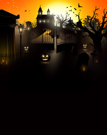 Halloween mysterious cemetery with a crypt and a church on the hill - flyer with place for your text