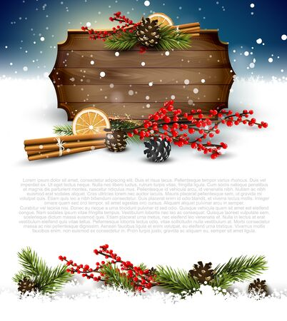 Christmas background with traditional decorations and wooden sign - template with place for your text