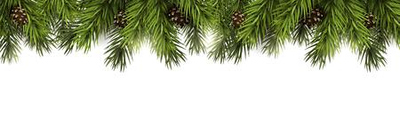 Kerstmisgrens met spartakken en denneappels op witte achtergrond Stockfoto - 89953130