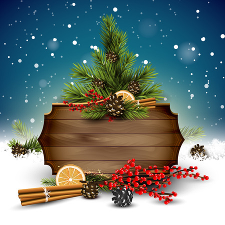 Christmas background with traditional decorations and wooden sign with place for your message Illustration