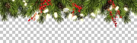 Bordo di Natale con rami di abete, pigne, bacche e luci