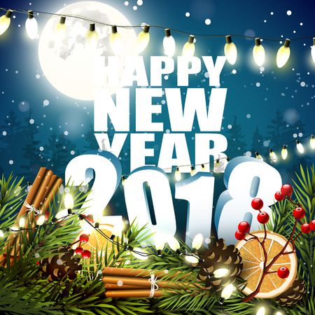 Happy New Year 2018 - Greeting card with traditional decorations