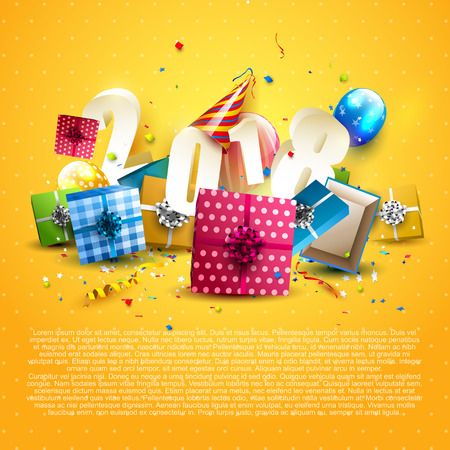 Happy New Year 2018 - Flyer with colorful gift boxes, balloons and party hat on orange background Vectores