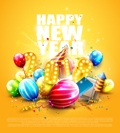 Happy New Year2018 with colorful balloons and party hat on orange background