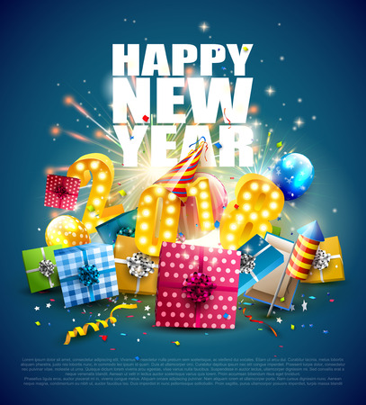 Happy New Year 2018 - Flyer with colorful gift boxes, balloons and party hat on blue background