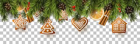 Confine natalizio con rami di abete, decorazioni tradizionali e panpepato