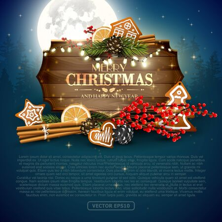 Christmas background with traditional decorations, gingerbreads and wooden sign at night landscape with Moon on the background - template with place for your text