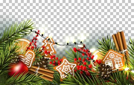 Frontière de Noël avec des branches de sapin, des décorations traditionnelles et des pains d'épice sur fond transparent