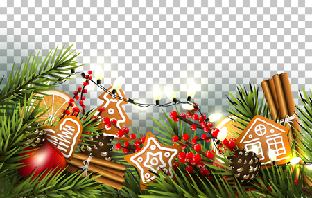 Christmas border with fir branches, traditional decorations and gingerbreads on transparent background