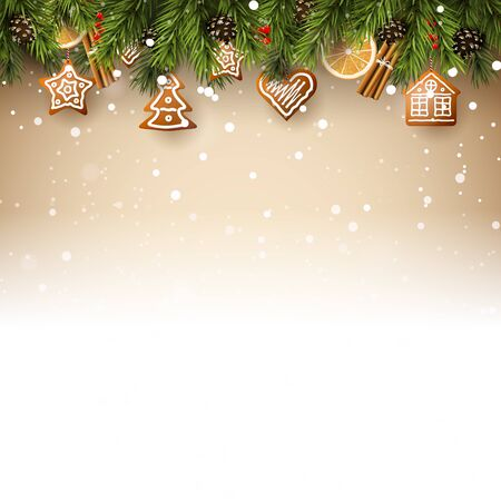 Christmas background with fir branches, traditional decorations and gingerbreads