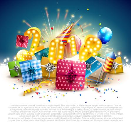 Feliz año nuevo 2018 - Flyer con cajas de regalo de colores, globos y sombrero de fiesta sobre fondo azul