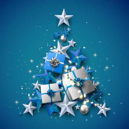 Luxury Christmas greeting card with stars, gift boxes and baubles in the shape of a tree