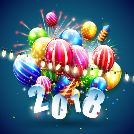 Happy New Year 2018 with colorful balloons on blue background Illustration