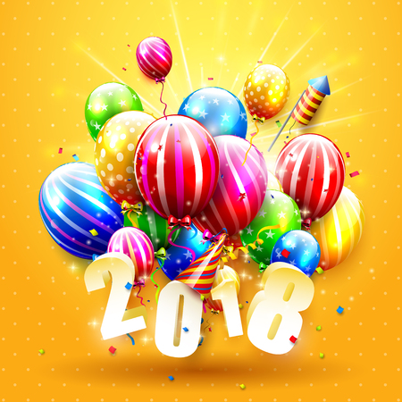 Happy New Year 2018  with colorful balloons on orange background Illustration