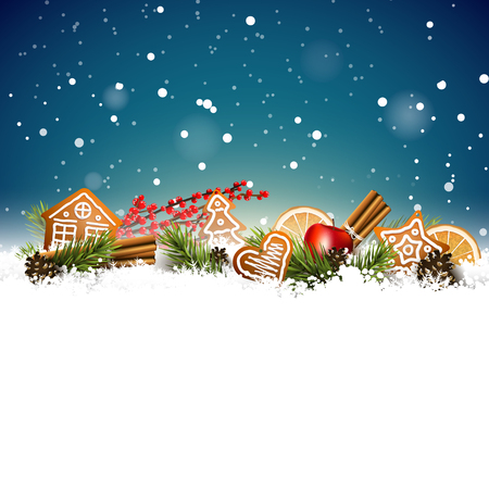 Christmas background with fir branches, traditional decorations and gingerbreads in the snow.