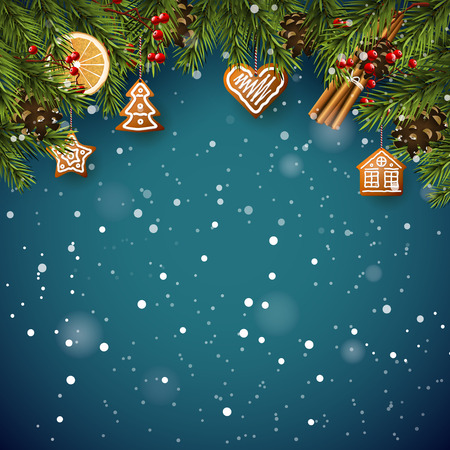 Christmas card with fir branches, traditional decorations and gingerbreads on blue background Illustration