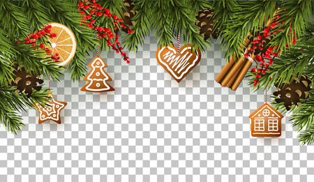Christmas border with fir branches, traditional decorations and gingerbreads on transparent background 免版税图像 - 91509051