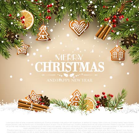 Kartka świąteczna z gałązkami jodły, tradycyjnymi dekoracjami i piernikami.