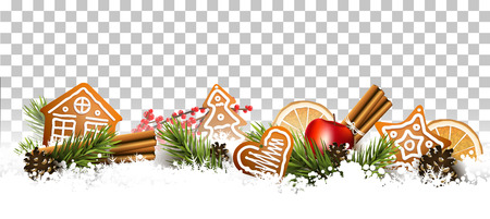 Christmas border with fir branches, traditional decorations and gingerbreads in the snow