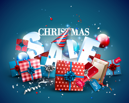 Christmas sale template with red and blue gift boxes