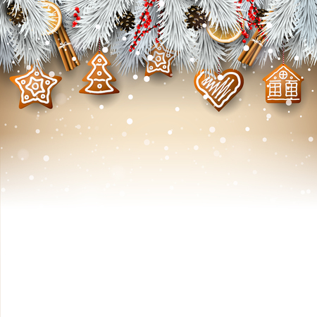 Christmas background with silver branches, traditional decorations and gingerbreads