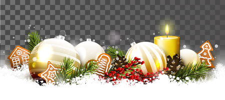 Christmas border with glass baubles, traditional decorations and gingerbreads in the snow Stock Illustratie