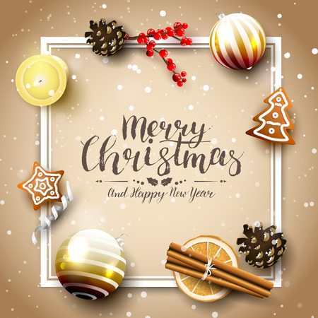 Traditional Christmas greeting card with traditional decorations and gingerbreads Stock Illustratie