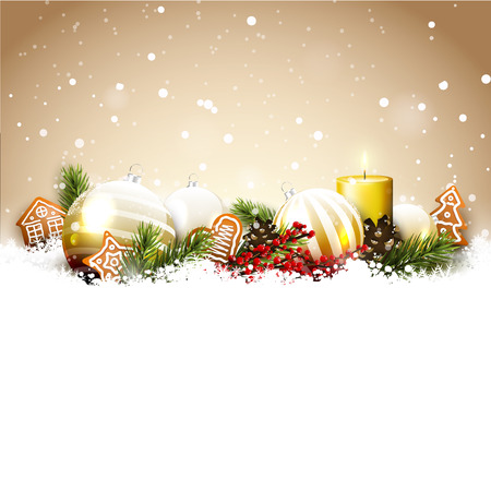 Christmas background with glass baubles, traditional decorations and gingerbreads in the snow Çizim