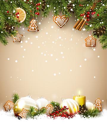 Modèle de Noël avec des branches de sapin, des boules de verre, des décorations traditionnelles et des pains d'épice.