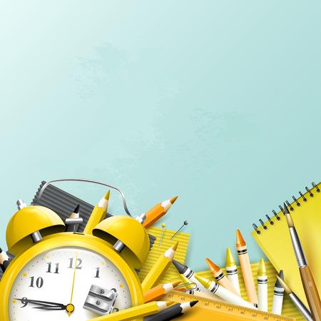 Moderne ontwerpsjabloon met schoolaccessoires en ruimte voor uw tekst Stock Illustratie