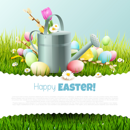 Easter template with colorful eggs and watering can in the grass Illustration