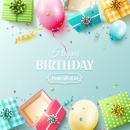 Happy birthday greeting card with colorful gift boxes and birthday balloons on blue background