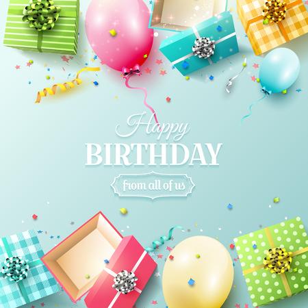 Kartkę z życzeniami wszystkiego najlepszego z kolorowych pudełek i balonów urodzinowych na niebieskim tle Ilustracje wektorowe