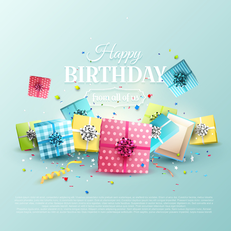 Happy birthday greeting card with colorful gift boxes on blue background