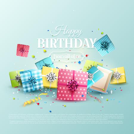 tarjeta de felicitación de cumpleaños feliz con cajas de regalo de colores sobre fondo azul Ilustración de vector