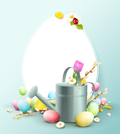 Stylish Easter template with colorful eggs, water can and empty paper