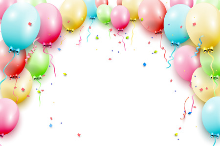 Birthday template with colorful birthday balloons on white background Çizim