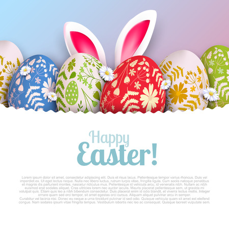 Stylish Happy Easter background. Colorful eggs with floral pattern and bunny ears. Illustration