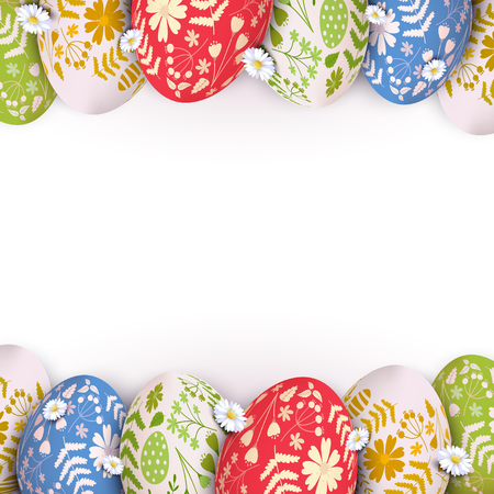 Stylish Easter background colorful eggs with floral pattern on white background.