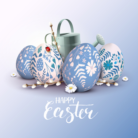 Stylish Happy Easter greeting card. Blue and white eggs with floral pattern. Illustration