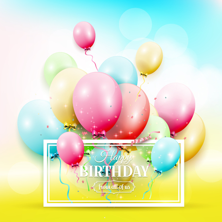 Happy birthday greeting card with colorful birthday balloons