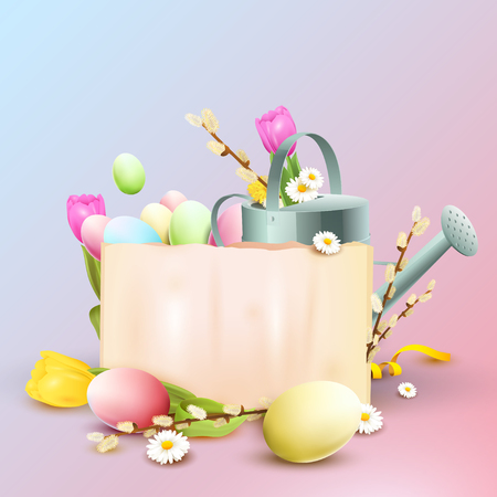 Easter background with colorful eggs, water can and empty paper