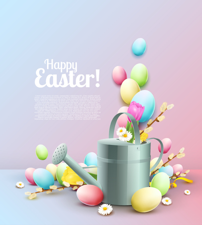 Easter template with colorful eggs, water can and place for your text Illustration